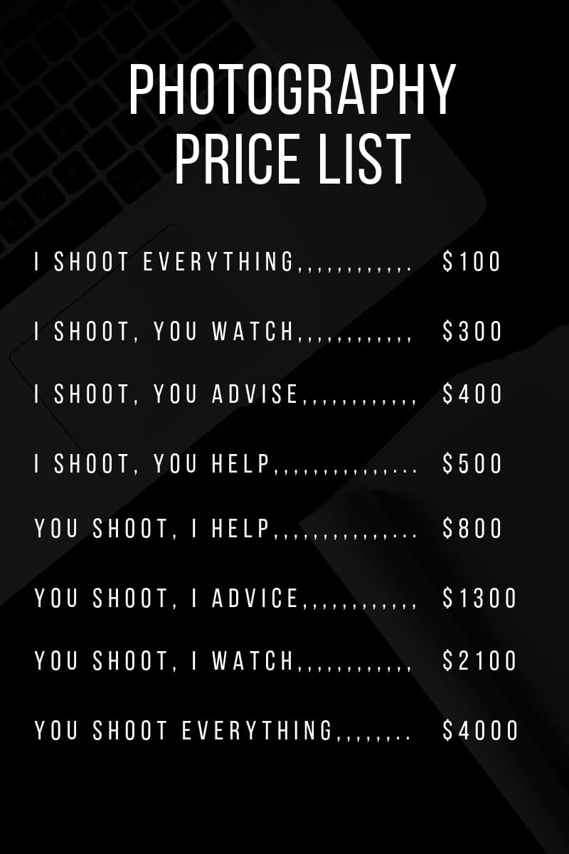 Remove Prices From Your Website Unless      Photography to